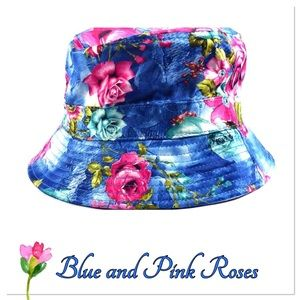 Blue and Pink Rose Bucket Hat
